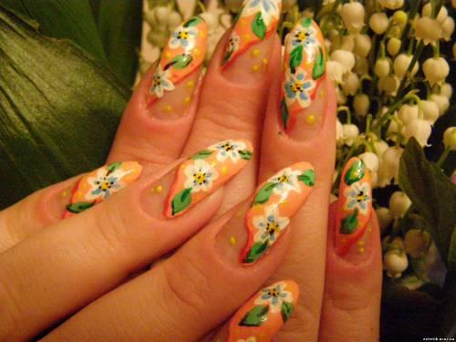 Фото весеннего маникюра нарощенные ногти